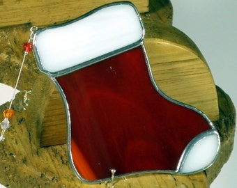 Red Santa Stocking Stained glass suncatcher, Christmas tree ornament and window decoration