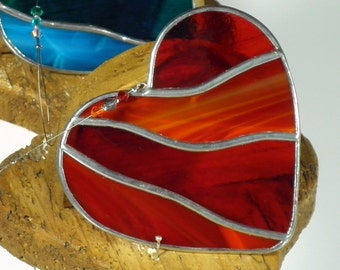 Red Heart Stained Glass Suncatcher   Love Heart Window Hanging Gift and Ornament   Perfect Gift   Home decor   Valentine's Day