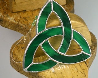 Celtic Trinity Knot Stained Glass Suncatcher   Celtic Triquetra Window Hanging Gift and Ornament   Different Colors   Handmade in Ireland