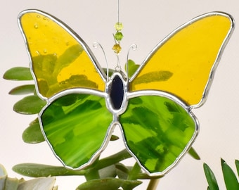 Butterfly Stained Glass Suncatcher   Green and Yellow Butterfly Window Hanging Gift & Ornament   Perfect Gift for Garden Lover   Home decor