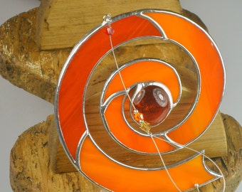 Spiral Celtic Stained Glass Suncatcher   Single Spiral  Celtic Window Hanging Gift and Ornament   Handmade in Ireland