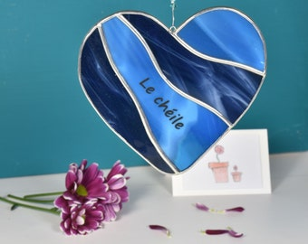 Customizable Blue Heart Stained Glass Suncatcher Window Hanging Gift and Ornament   Perfect Birthday Gift Ornament Handmade in Ireland