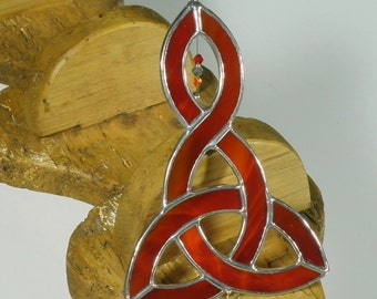 Celtic Trinity Knot Stained Glass Suncatcher   Celtic Triquetra Window Hanging Gift and Ornament   Handmade in Ireland