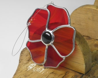 Poppy Flower Stained Glass Suncatcher   Red Poppy Flower Window Hanging Gift and Ornament   Perfect Gift   Home decor