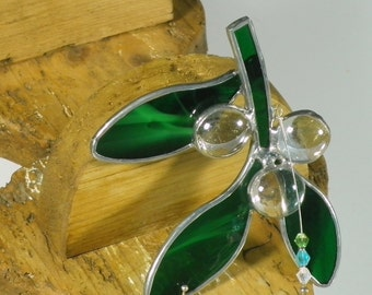 Small Twig of Mistletoe stained glass suncatcher, Christmas tree ornament and window decoration