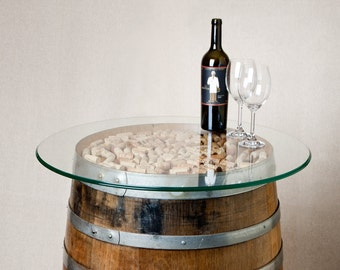 Natural Wine Barrel Coffee Table With Cork And Glass Top Etsy