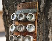 RESERVED LISTING: Custom Banded Barrel Spice Rack- 15 Cans
