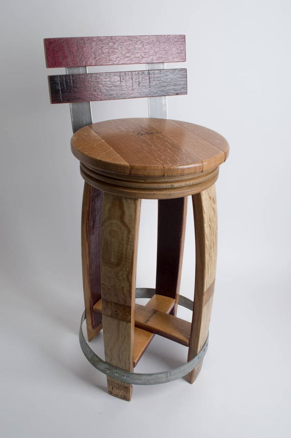 Stupendous Wine Barrel Barstool With Back Natural Finish Swivel Seat Ncnpc Chair Design For Home Ncnpcorg