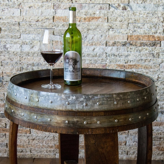 Dark Walnut Stained Wine Barrel End Table With Cross Braces Etsy