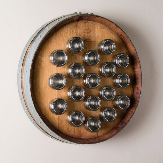 Wine Barrel Spice Rack- Circular with 18 Steel Cans