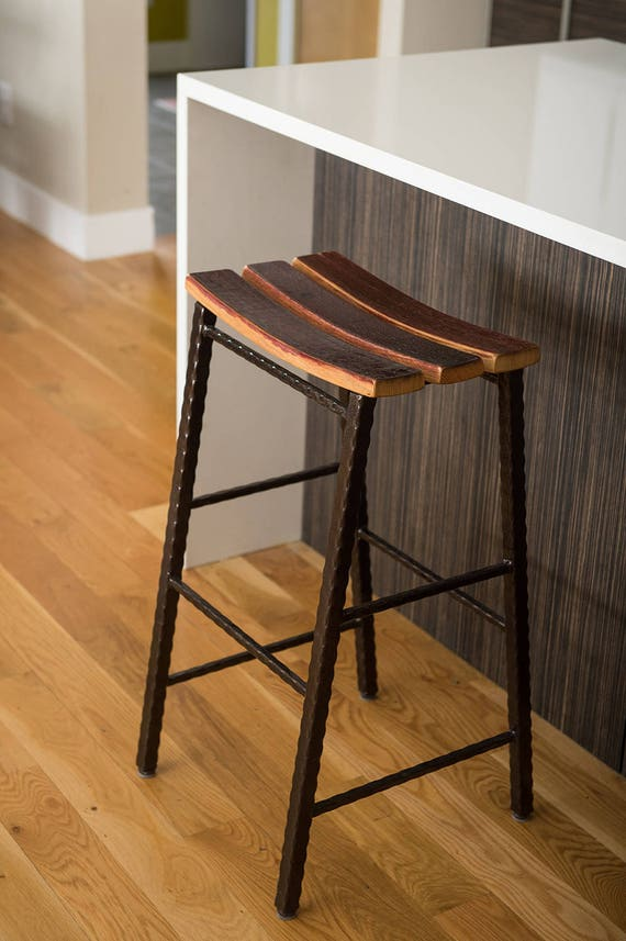 Magnificent Counter Height Wine Barrel Stave Saddle Stool With Metal Base Pdpeps Interior Chair Design Pdpepsorg