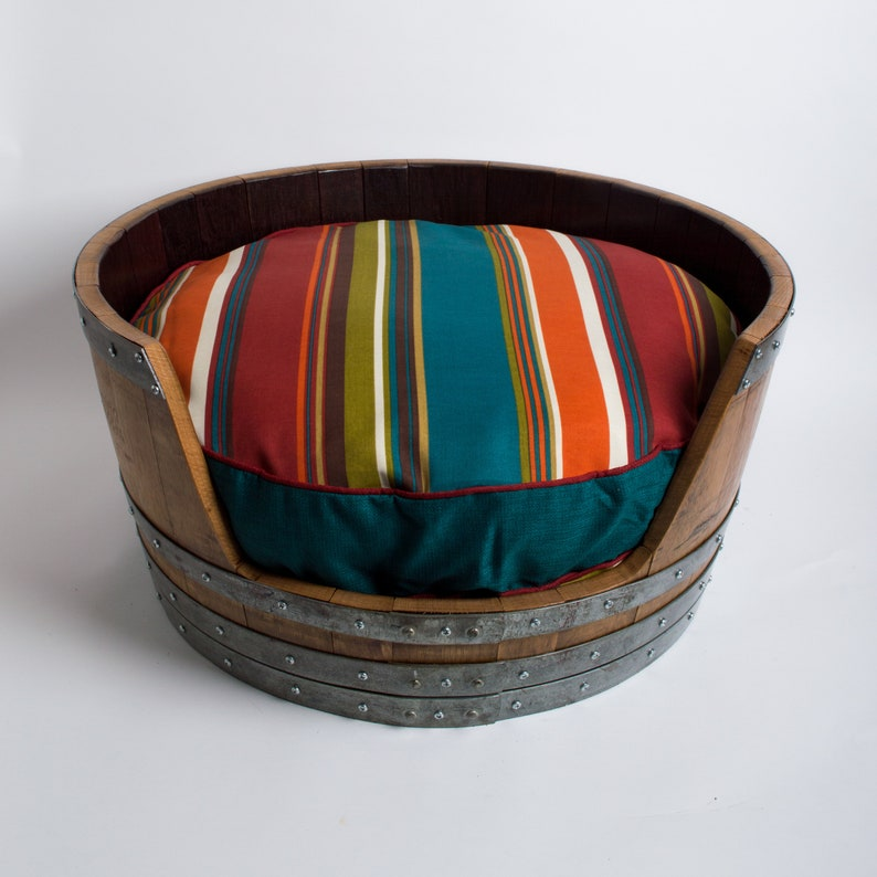 Wine Barrel Dog Bed Turquoise Stripe