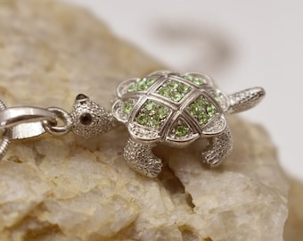 Peridot Crystal Turtle Necklace