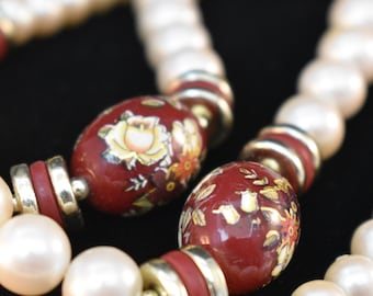 Vintage Pearl and Maroon Cloisonne Beaded Necklace