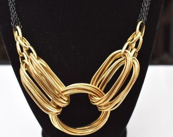 Vintage Signed Sofia Black and Gold Tone Chunky Necklace