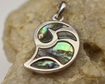 Silver Tone and Abalone Shell Necklace