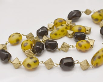 Vintage Leopard Spotted and Black Bead Link Necklace
