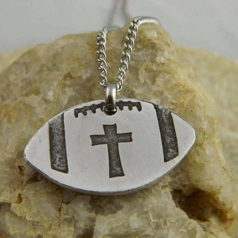 Etched Cross Football Necklace
