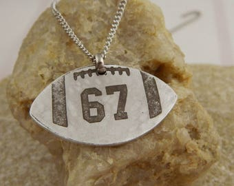 Custom Number Etched Football Necklace