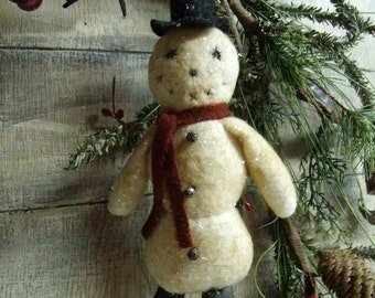 Primitive Snowman Ornie Ornament/vintage style collection/tree christmas winter/INSTANT DOWNLOAD PATTERN frosty