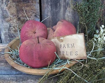 PRIMITIVE Pattern/ FARM APPLES/Instant Download pattern/Pdf pattern/Primitive apples/bowl fillers/farmhouse