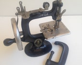 Antique Child 39 s Black Singer Sewing Machine - Cast Iron with Wood Crank Handle - In Good working order -