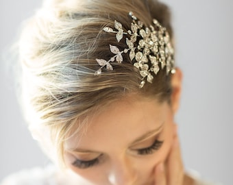Wedding Hair Comb, Crystal Bridal Comb, Wedding Headpiece,  Bridal Hairpiece, Gold Wedding Headpiece, Floral Bridal Comb
