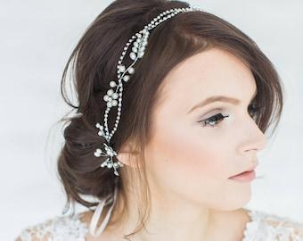 Wedding Hair Vine,  Bridal Headpiece, Bridal Hairpiece, Ribbon Wire Headband, Wedding Hairpiece, Wired Crystal Vine
