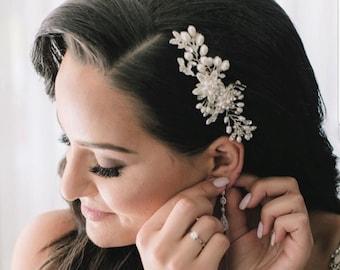 Freshwater Pearl Wedding Hair Comb, Pearl Crystal Bridal Hair Comb,  Hair Comb for Bride