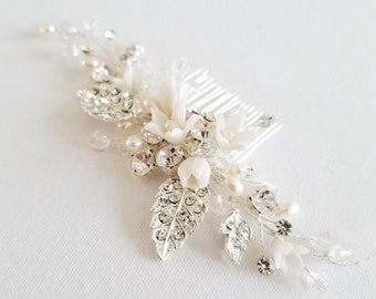 Bridal Hair Comb with Clay Flowers and Freshwater Pearls, Floral Wedding Headpiece in Silver, Gold or Rose Gold