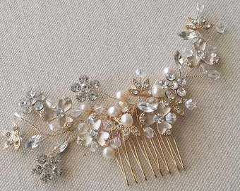 Gold Bridal Comb, Wedding Hair Comb, Bridal Hair Comb, Pearl Hair Comb