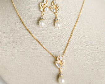 Gold Bridal Jewelry Set,  CZ Bridal Earrings, Wedding Jewelry, Bridal Necklace & Earrings