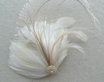 Wedding Fascinator, Bridal Feather Headpiece, Feather Fascinator, Wedding Hair Accessory