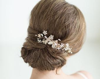 Gold Bridal Hair comb, Pearl Wedding Headpiece, Rose Gold Wedding Hair comb, Pearl Wedding Hair Comb