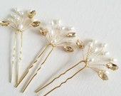 Wedding Pearl Hair Pins, Gold Bridal Hair Pins, Pearl Wedding Hair Pins, Crystal Freshwater Pearl Bridal Hair Pins