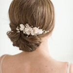 Bridal Hair Comb, Wedding Headpiece, Floral Crystal Hair Comb, Gold Blush Pink Wedding Comb, Bridal Hairpiece