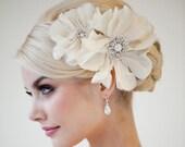 Bridal Headpiece, Flower Wedding Hairpiece, Wedding Hair Accessory, Bridal Flower Hair Clip