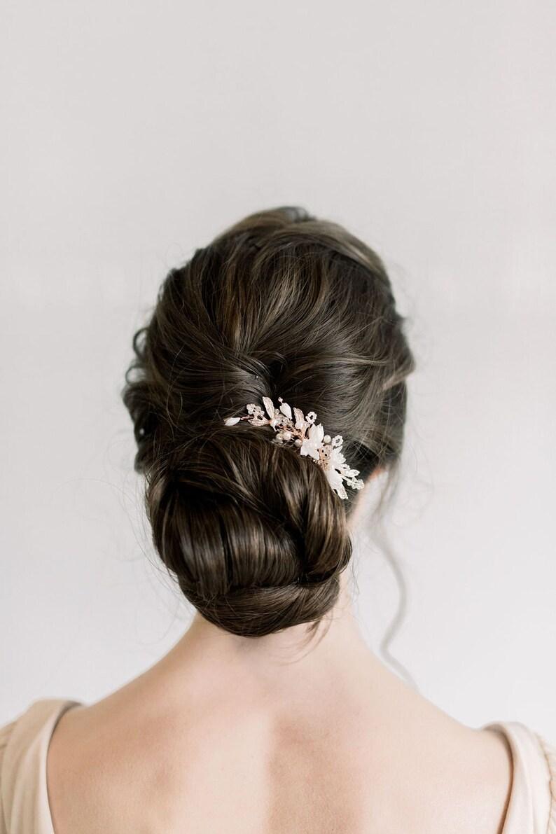 Rose Gold Wedding Hair Comb Porcelain Flowers Crystal Clay Flower Bridal Hair Comb Rose Gold Floral Wedding Hair Comb