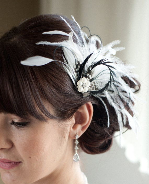 Wedding Hair Accessory Bridal Feather Fascinator Black and ... - photo #43