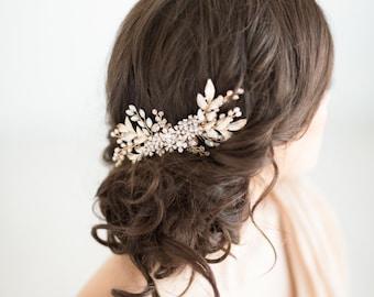 Gold Hair Comb, Bridal Hair Comb, Wedding Hair Comb, White Opal Pearl Comb, Pearl Hair Comb