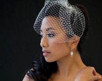 Wedding Birdcage Veil, 9 Inch Birdcage Veil, Wedding Veil, Short Birdcage Veil, Bridal Veil