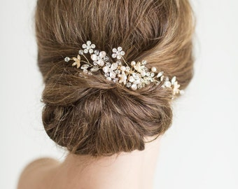 Gold Bridal Comb, Pearl and Crystal Comb, Rose Gold Wedding Hair Comb, Gold Wedding Comb