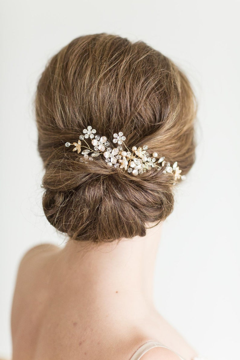 Gold Bridal Comb Pearl and Crystal Comb Rose Gold Wedding image 0