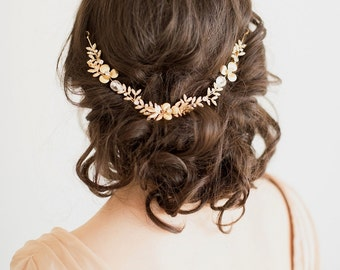 Gold Bridal Hair Accessory, Gold Crystal Hairpiece, Wedding Hair Vine, Wedding Hair Comb, Bridal Hair Comb