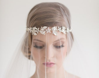 Wedding Headband, Bridal Headband, Bridal Rhinestone Headband, Ribbon Crystal Headband, Wedding Headpiece