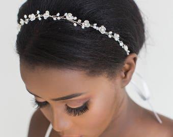 Pearl Wedding Hair Vine,  Bridal Headpiece, Bridal Hairpiece, Bridal Headband, Wedding Hairpiece, Wired Pearl Hair Vine