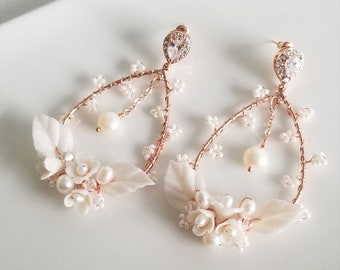 Boho Bridal Earrings, Clay Flower Wedding Hoop Earrings, Floral Wedding Statement Earrings For Bride