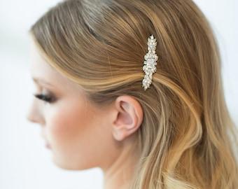 Wedding Pearl Hair Clip, Wedding Hair Accessory, CZ Pearl Bridal Hair Clip, Crystal Hair Clip, Wedding Headpiece