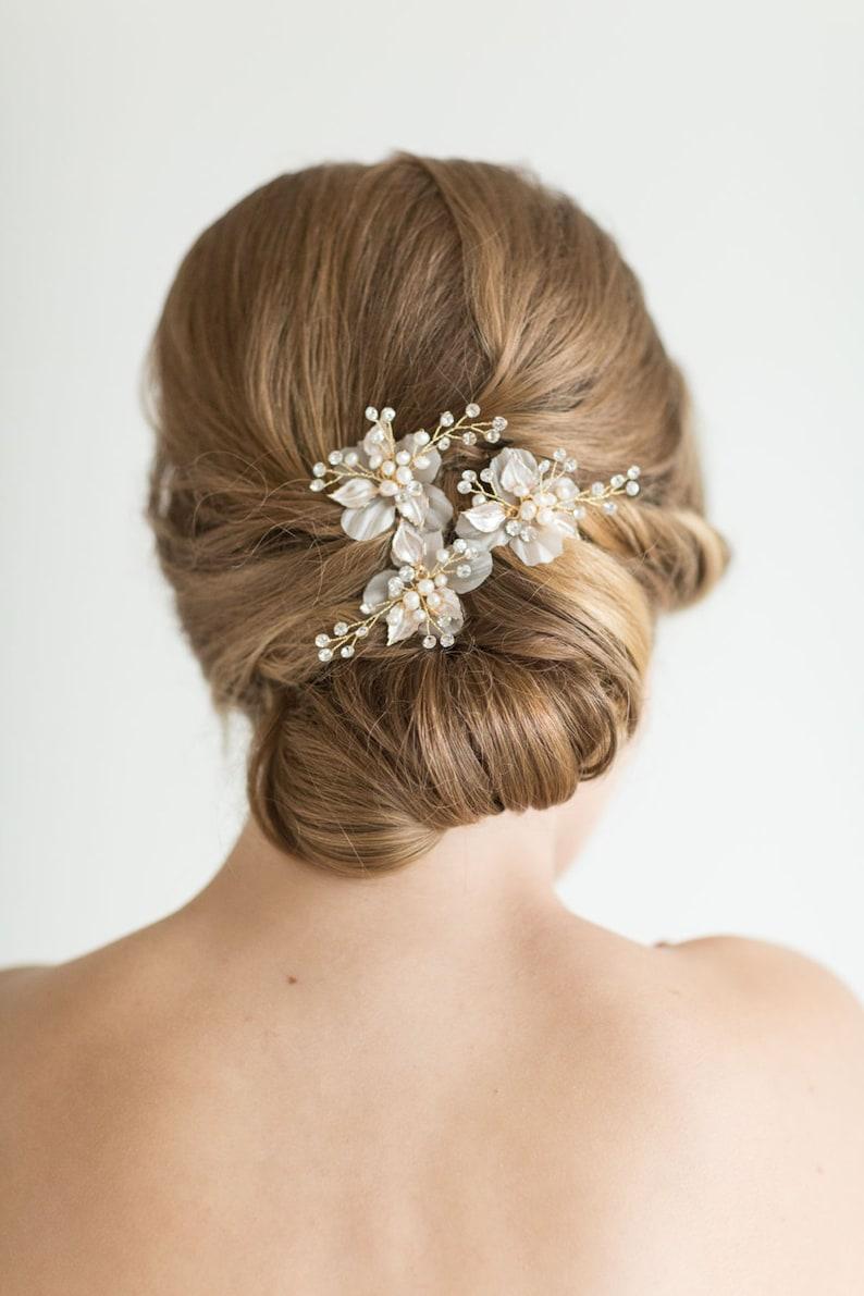 Wedding Hair Pin Freshwater Pearl Bridal Hair Pin Silver image 0