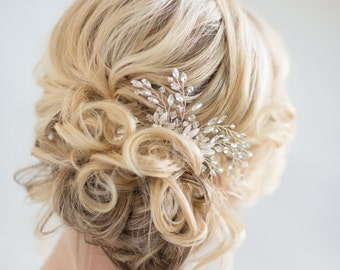 Bridal Hair Comb, Pearl Wedding Hair Comb,  Gold Crystal Hair Comb, Silver Crystal Hair Comb, Wedding Headpiece, Gold Leaf Hairpiece